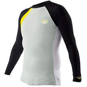 BODY GLOVE Performance Rash Guard Long Sleeve Gray/Yellow Men